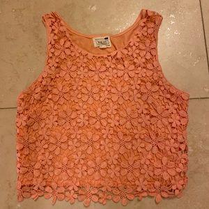 Orange LA hearts crochet tank top